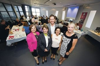 WBA president Vesna Sampson, Teresa Livingston, Trent Carter, Delilah Valentim and Wanneroo Mayor Tracey Roberts at the WBA breakfast. Picture: Emma Reeves |www.communitypix.com.au d413907
