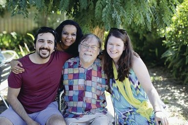 Buoyant spirits: Misagh Habibi, Malini Parker, Greg Parker and Jennifer Williamson-Habibi.