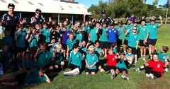 Peel Thunder and Mandurah Magic players joined The Good Guys staff at local schools to promote eating a healthy diet.