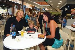 From Left: Anthea Hancock, Rylie Ball (4 yrs), Jessica Ball at Ocean Keys shopping centre open day
