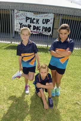 Geordie O'Neill, Leon Villemin and Emma Caple are upset with the amount of dog poo on the school oval. Picture: Emma Reevesd416953