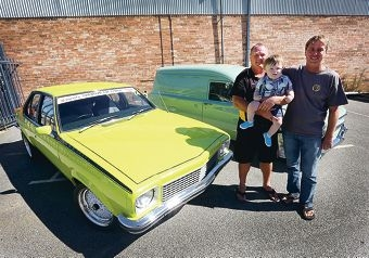 Alan Wall and Toby Walker (17 months old) with David Hopkin after the Variety Creative Car Cruise. Picture: Matt Jelonek www.communitypix.com.au d416313