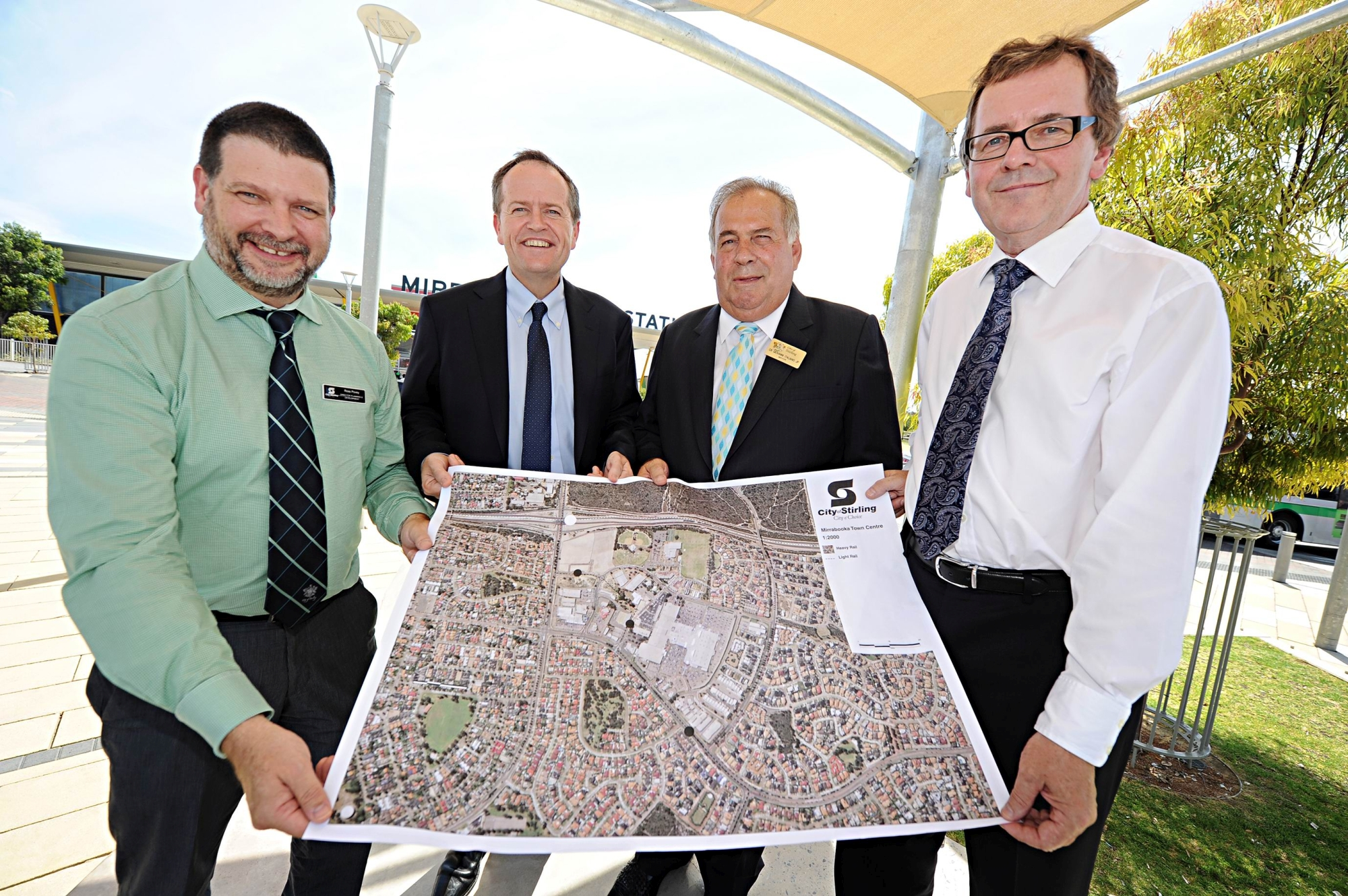 Labor leader Bill Shorten with City of Stirling planning and development director Ross Povey, Mayor Giovanni Italiano and chief executive Stuart Jardine. Picture: Marcus Whisson d416810