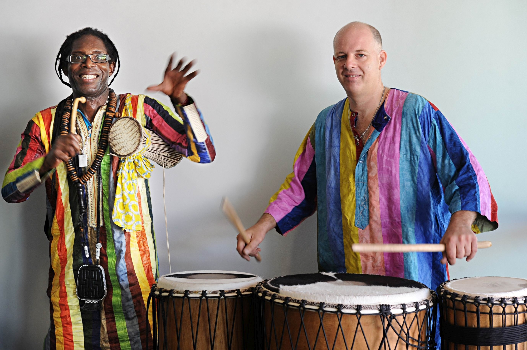 Mirrabooka Multicultural Centre open day entertainment (from left) Djibril Diagne and Warren Harvey of Bolo. Picture: Marcus Whisson www.communitypix.com.au d416805