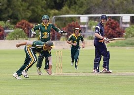 Joondalup players celebrate a catch from captain Michael Swart. Picture: Dan White