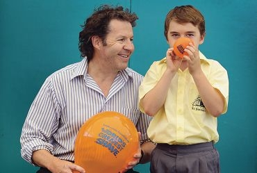 Teacher Scott Lilleyman with St Jerome's Primary School Year 4 student Keegan Elder.