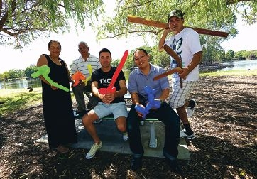 Bev Eades and Venis Collard (Jacaranda Community Centre), Tim Galloway (YMCA), Jason Tan (New Life City Church & Daniel Garlett (Aboriginal Dance Performer).