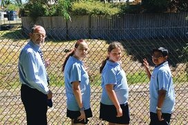 Weld Square Primary School principal Glen Cookson, Casey Fragomeni, Stacey Bolin and Maheswaanath Muralitheran are helping the City of Bayswater transform a drain behind their school into a living stream.