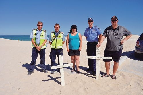 Sergeant Jason Macander (second from right) with Wanneroo rangers Sean Pender and Mark Hastle and Alkimos Progress Association founders Tracy and Hayden Morgan.