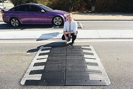 Stirling councillor David Michael inspects the traffic humps in Beryl Street. d416390