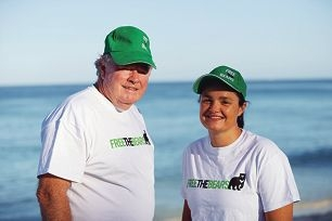 Rebecca Smith and her dad Terry discuss her Rottnest return swim attempt.
