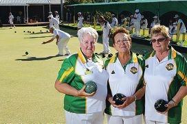 Mills Park Bowling Club members Hazel Crompton and Sandy Burnett with president Joy Boyd.