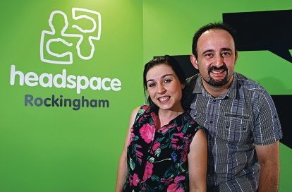 Headspace intake worker Cat Hurle and Headspace manager Raff Di Bartolomeo. Picture: Elle Borgward www.communitypix.com.au d416407