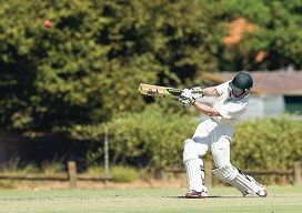 Joondalup batsman Garrick Morgan hits a six. Picture: Dan White