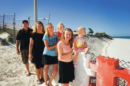 Quinns Rocks residents, from left, Stephen Faulkner, Nat Sangalli, Kelly Lonsdale with Teya White, and Caroline and Ailee White. Picture: Emma Reeves www.communitypix.com.au d416455