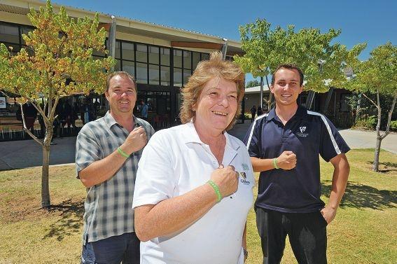 Year 7 co-ordinator Mark Cluning, principal Carolyn Cook and English teacher Luke Taaffe.