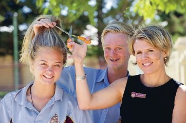 Year 9 students Nicky Silver, Piers Forder and teacher Caroline Bamford are taking part in this year's World's Greatest Shave. Picture: Emma Reeves www.communitypix.com.au d415989