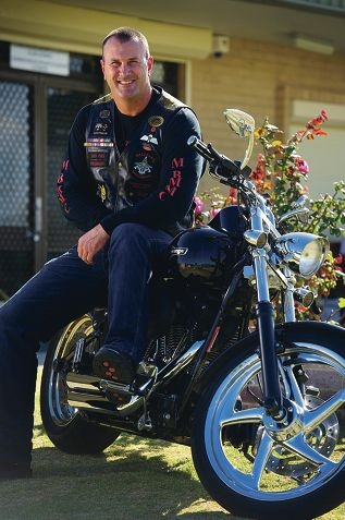 Shane Kempton is the President of the Military Brotherhood Military Motorcycling Club in Perth. Picture: Emma Reeves d416634
