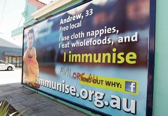 One of the defaced billboards. Picture: Martin Kennealey www.communitypix.com.au d416382