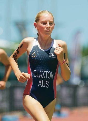 Jessica Claxton competes in a triathlon.