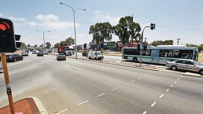 Nicholson Road and Albany Highway intersection in Beckenham.  The intersection experiences high Perth-bound traffic volumes in the morning peak traffic period and the reverse in the afternoons.  There are also eight bus services using this intersection for the right turn into Nicholson Road.