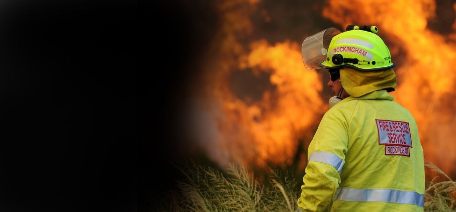 Fire fighter Jayden Storer in action and (inset) scenes from the fire. Pictures: Jon Hewson