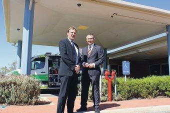 Roger Cook and Darren West at Northam Hospital.
