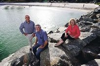 Rock pool proponents Tom Locke, Lewis Flood and Leisha Jack at Cottesloe. Picture: Andrew Ritchie d415152