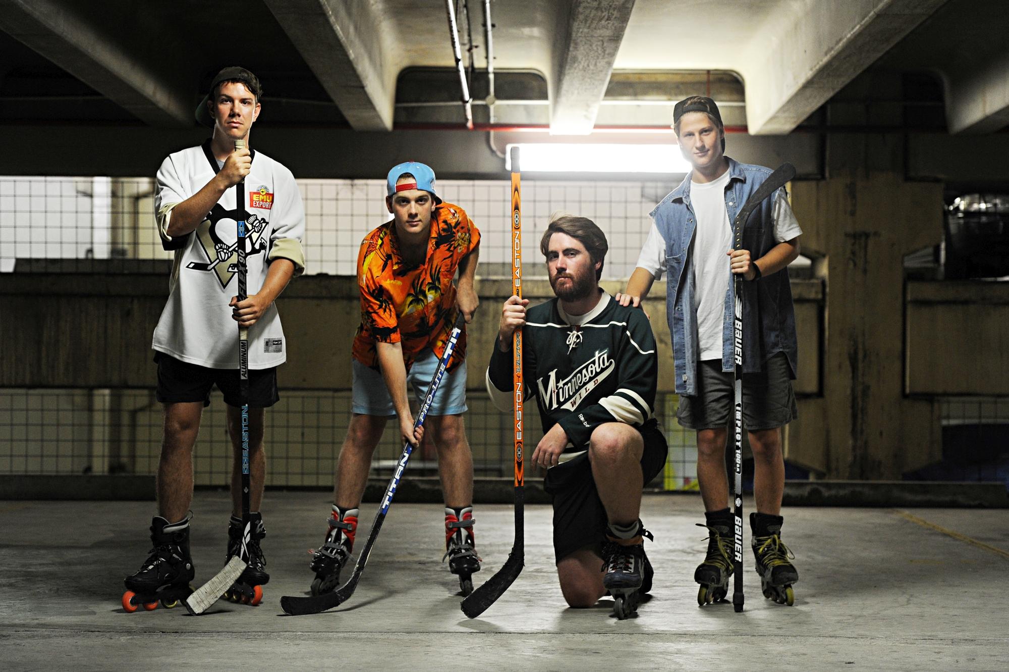 Street hockey players David Whitehouse, James Dixon, Eamonn Lourey and Ross Palchak. Photographer: Marcus Whisson