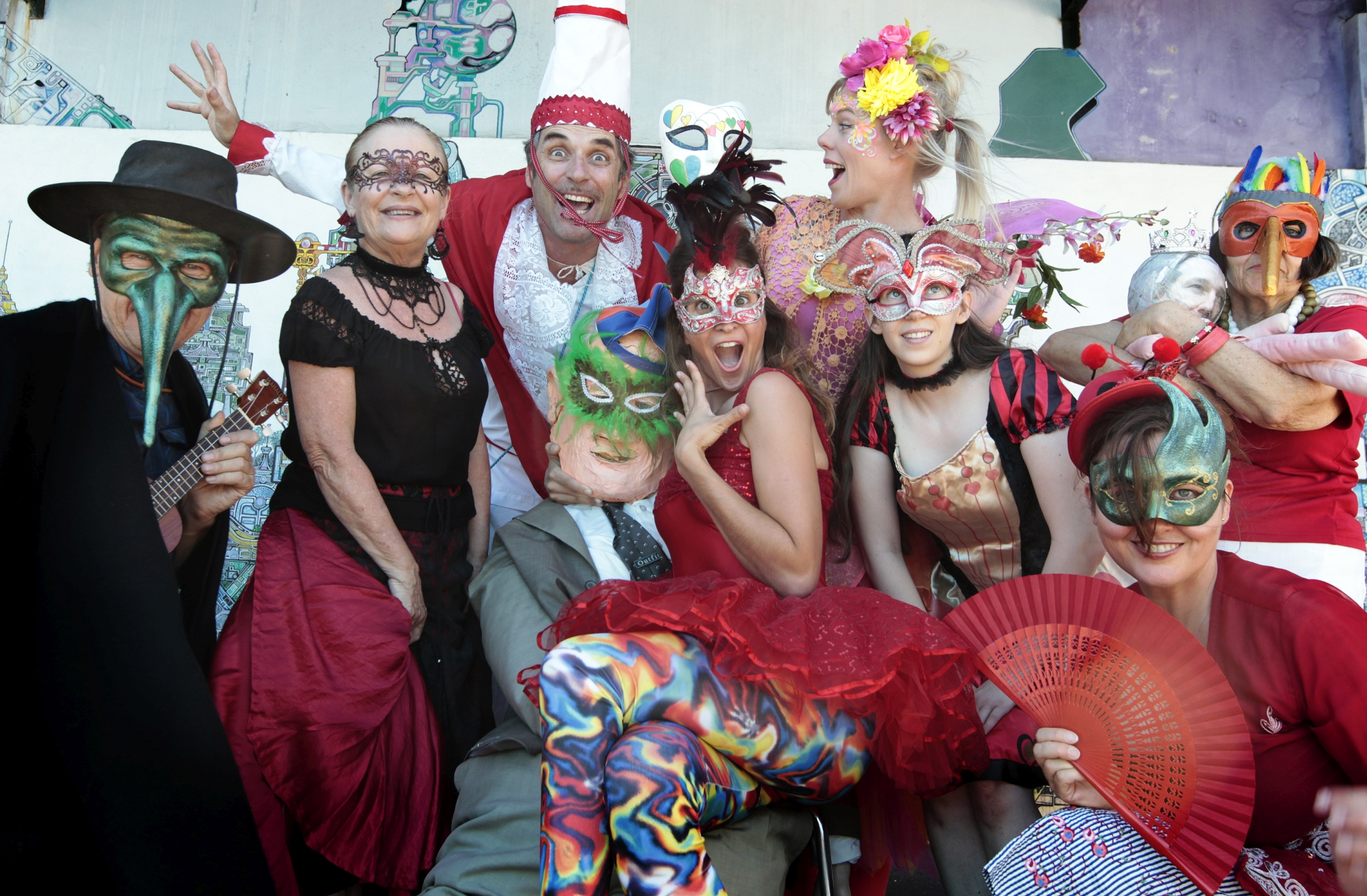 Carnevale performers get into the spirit of the colourful event. Picture: Martin Kennealey d415555