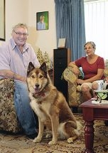 Brian Coxe and his dog Taffy with POOPS Coastal South coordinator Lynne Downing. Picture: Martin Kennealeywww.communitypix.com.au d415578