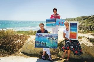 From Left: Marilyn Boast, Jenny Ellis-Newman, Su Bonsall. North Coast Art Club is having an exhibition soon