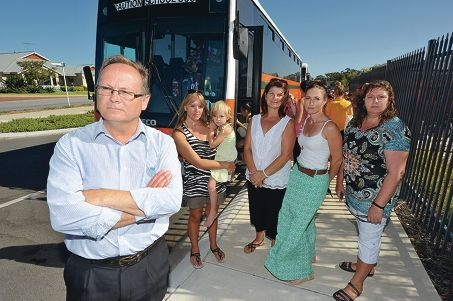 Mandurah MLA David Templeman and mums Gayle Berg with Jazmin (4), Tania Lewis, Lisa Fitzpatrick and Kylie Brown are angry about traffic problems at the school site. Picture: Jon Hewson d415506