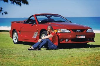Helen Doyle with her beloved Mustang Saleen S281 Speedster, the only one of its type in the southern hemisphere. Picture: Andrew Ritchie www.communitypix.com.au d414904
