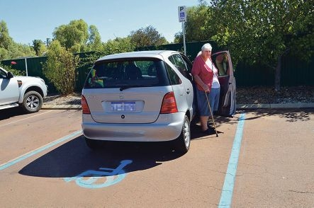 Shirley Cook uses one of the disabled parking bays.