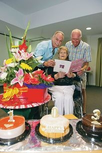 John and Derrick Walford with mum Eileen, celebrating her 103rd birthday. Picture: Emma Reeves d415105