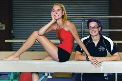 Gymnast and Mount Lawley Senior High School Year 12 student Vanessa Vlajkovic (16, Dianella) with her coach Michelle Ranieri [NAMES OK]