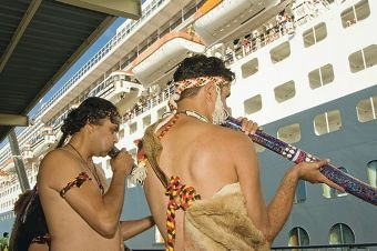 Queen Mary II passengers are treated to an indigenous welcome. Picture: Roel Loopers