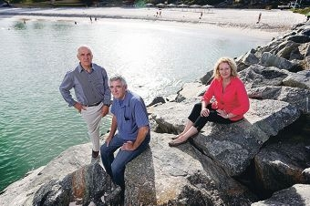 Tom Locke with Lewis Flood and Leisha Jack want to see beach pools along the coast.