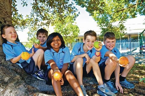Fruit break: Year 1 student Conan Smith with Year 5s Spencer Smith, Navya Pillai, Killian Smith and Daniel Potter. Picture: Cathal Smith