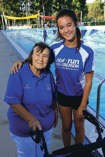 Pam Spowart and Armadale Kelmscott Swiming Club member Grace Jones want a heated pool in Armadale. Picture: Marcelo Palacios d415323