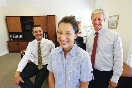 Hollywood Hospital chief executive Peter Mott, registered nurse graduate Clair Sitkei and project development services manager Wayne Williams. Picture: Andrew Ritchie www.communitypix.com.au d415234