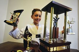 Taj Barbour knows a thing or two about impressive trophies. Picture: Jon Hewson www.communitypix.com.au d415281
