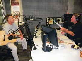 Fremantle musician Dave Brewer in the studio with Derek Cromb.