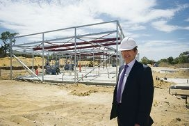Duncraig Senior Hugh School principal Stephen Spice at the Year 7 building site. Picture: Emma Reeves www.communitypix.com.au d415265
