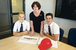 Carol Strauss, principal of Ashdale Seconday College, with Year 12 head girl Bethany Leadbeater and head boy Jakson Hosie.