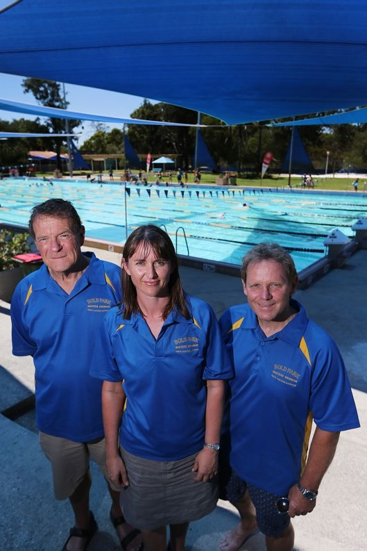 Bold Park Masters Swimming Club members Kees de Hoog, Angela Pond and Grayam Sandover. Picture: Andrew Ritchied415335