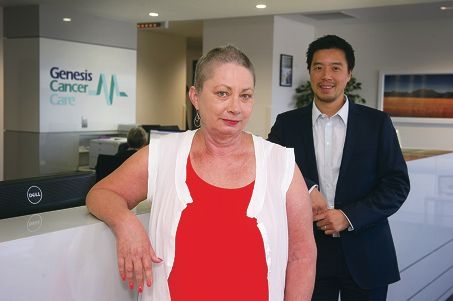 Jo-Ann McMahon with Dr Raphael Chee from Genesis Cancer Care. Picture: Emma Reeves d414976