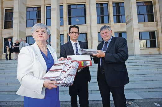 South Perth and Victoria Park mayors Sue Doherty and Trevor Vaughan hand hundreds of Battle for Burswood surveys to