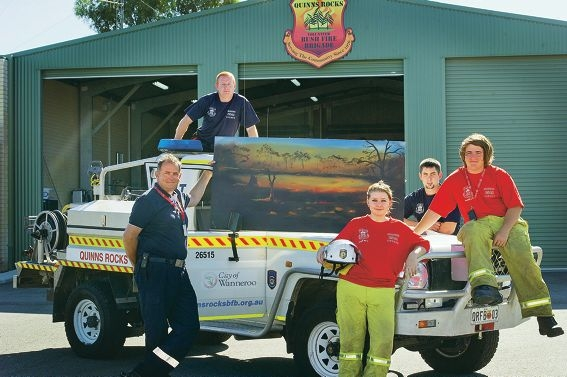 Volunteer Quinns Rocks Bush Fire Brigade's Lieutenant Karl Beckett, cadets Tempany Cole and Ashley Beckett, (back) Scott Ashurst and Lieutenant Ricky Southgate. Picture: Emma Reeves www.communitypix.com.au d414917